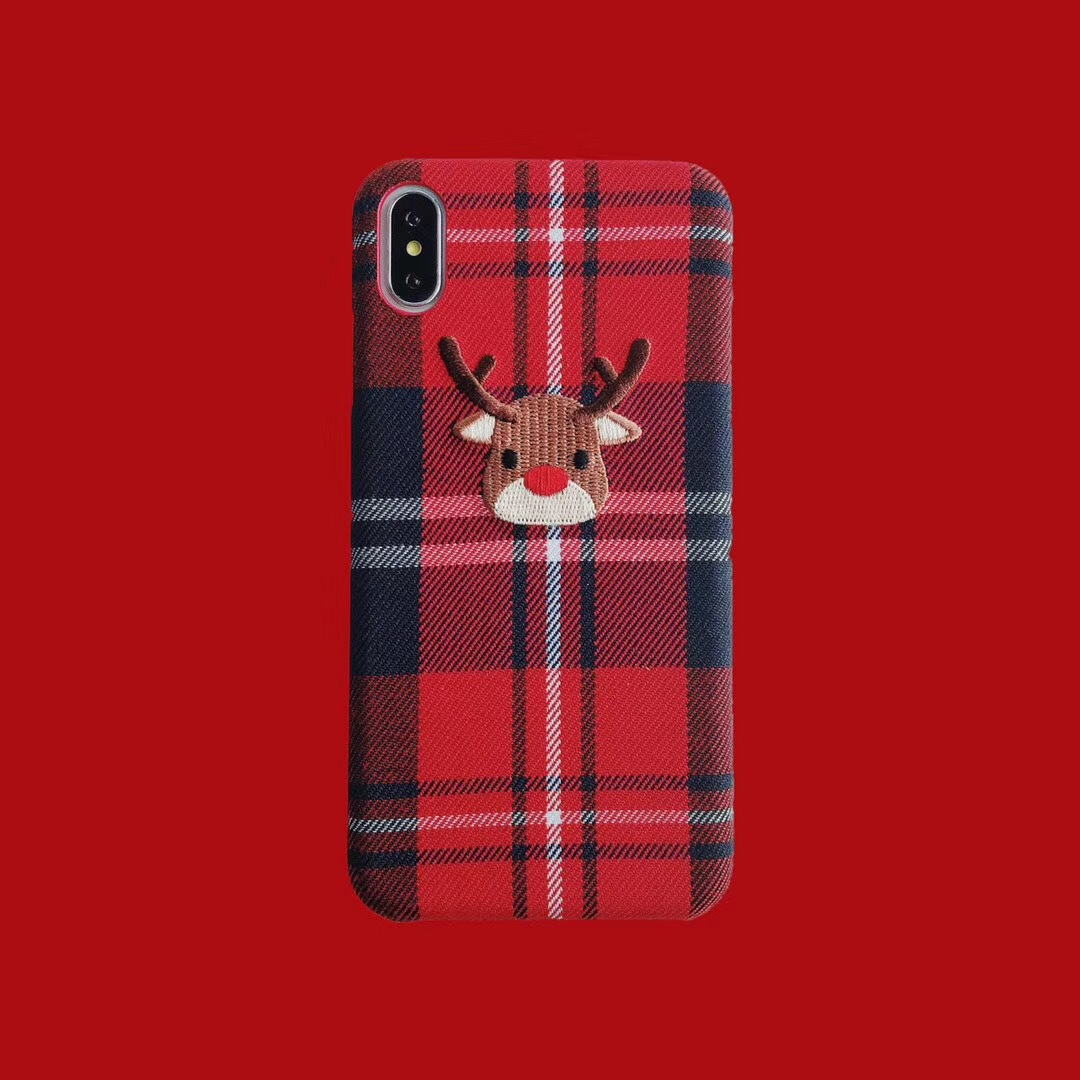 Grid elk mobile phone case iphoneX Max for creative embroidery velvet tpu apple 8 mobile phone case