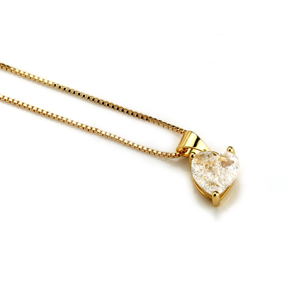 Copper Simple  necklace  (Alloy-plated white zircon) NHBP0259-Alloy-plated-white-zircon