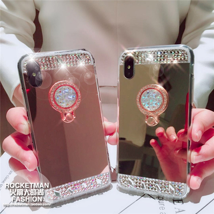 NOTE9 Luxury S10 color diamond plated mirror gemstone bracket mobile phone soft shell for iPhoneX Apple 8plus