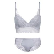 新款歐美性感蕾絲拼接文胸套裝 精美眼睫毛蕾絲花邊調整型內衣Bra