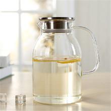 凉水壶冷水壶玻璃不锈钢盖大容量耐热耐高温花茶壶水杯果汁壶套装