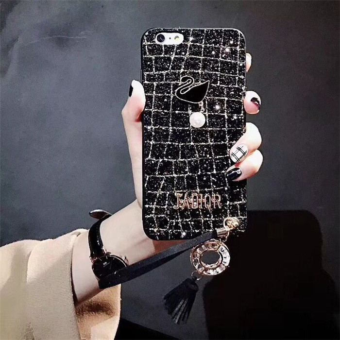 Personality Creative Apple 8p/7plus All Inclusive Drop 6s Tassel Rhinestone Swan iPhonex Mobile Shell Female
