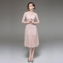 速卖通亚马逊wish欧美外贸原单女装2018秋季新品女装两件套连衣裙