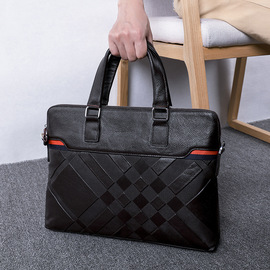 New stylish men's leather shoulder bag horizontal personality cowhide briefcase leisure business satchel bag