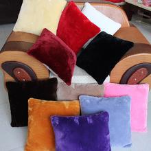 可水洗毛绒抱枕正方形靠垫沙发靠枕客厅含芯靠背垫短毛绒枕头批发