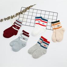 秋冬新品全棉兒童寶寶襪子 廠家批發韓版百搭字母條紋運動中筒襪