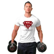 外贸纯棉T恤男士休闲时尚透气运动衫圆领修身健身空白款训练上衣