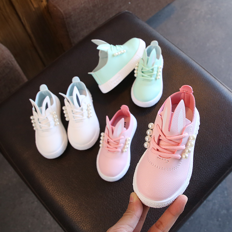 New Girls Leather Shoes Pearl Princess Shoes Peas Shoes Children Shoes