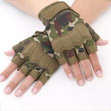 半指戰術手套 迷彩耐撕護腕防護手套  男士登山防滑戶外運動手套