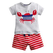 歐美風格品牌童裝批發 夏季新款兒童T恤套裝 純棉男童短袖童套裝