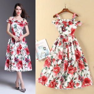 Europe station 18 spring and summer foreign trade women's fashion temperament rose printing waist waist hem long sling s