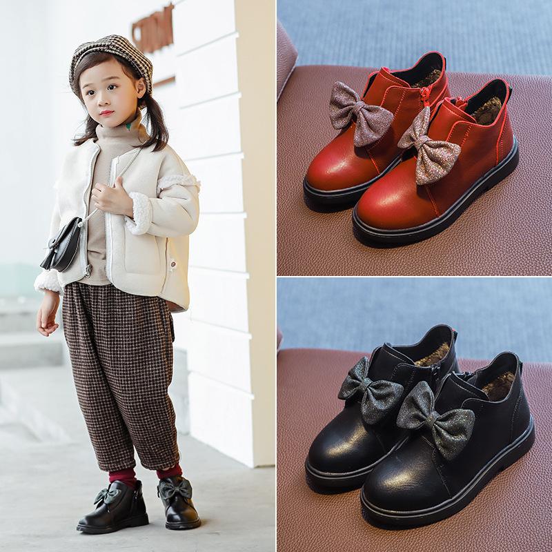 2019新款秋冬季儿童真皮靴子低筒红色女童小短靴公主靴加绒二棉鞋