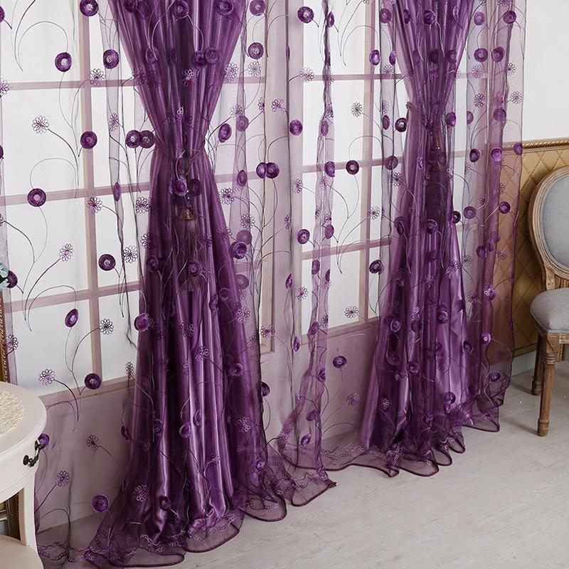 韩式宿舍落地房间梦幻窗帘窗帘紫色优雅浪漫客厅女孩女寝室纱帘