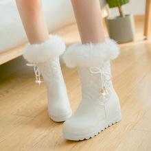 3343冬季保暖厚绒女靴蝴蝶结防水台增高雪地靴中筒靴棉靴大童3314
