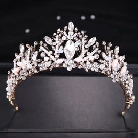 European and American Crown Hot Vintage Crystal Crown Bridal Headdress Luxury Princess Crown Jewelry Female