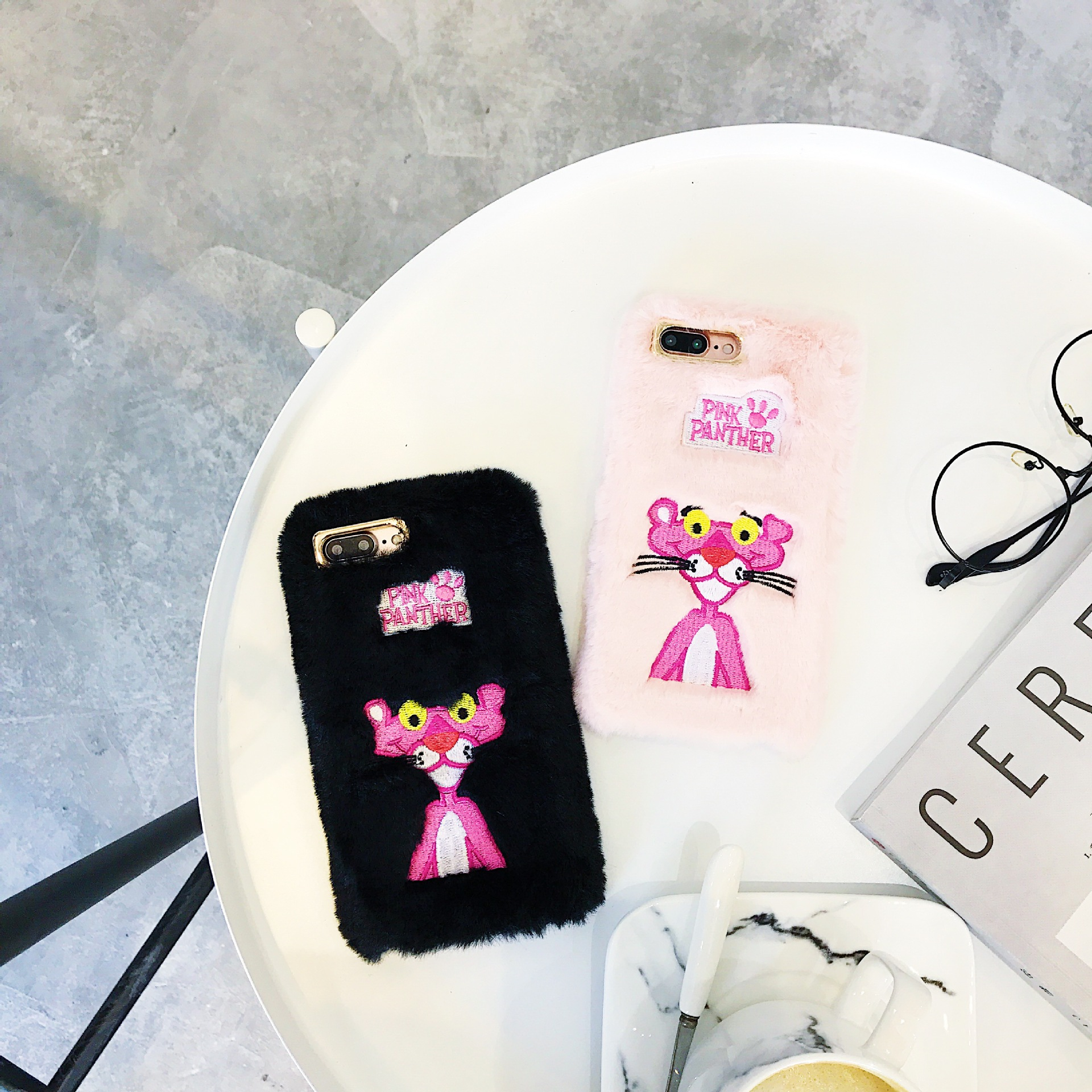 Fashion winter hand warm pink leopard embroidery plush for iPhoneXR mobile phone shell Apple 8plus soft cover
