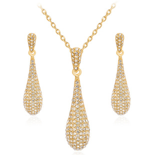 Hot-selling new necklace set Fashion diamond-studded drop earrings necklace two-piece set wholesale in stock