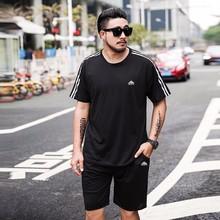 2018夏季新款运动套装男加肥加大码胖子短袖短裤两件套跑步运动服