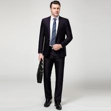 中老年羊毛西服套装男士修身新郎结婚礼服伴郎职业装休闲西装男