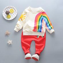 2018春季新款童装 创意彩虹套装 长袖T恤+裤子两件套淘宝爆款批发