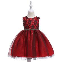 跨境新款速賣通爆款兒童禮服女童公主蓬蓬網紗花童演出禮服dress