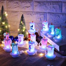 跨境专供圣诞装饰小夜灯蜡烛灯LED电子蜡烛雪人灯圣诞桌面摆件