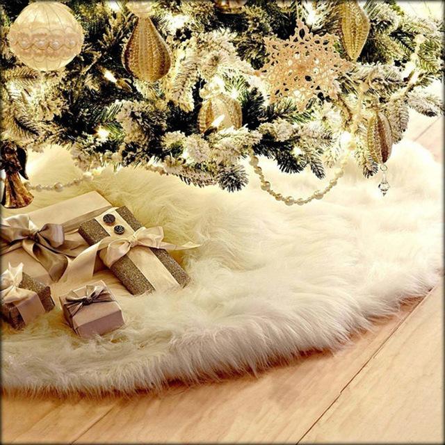 爆款热卖圣诞树裙纯白色长毛圣诞节日装饰品Christmas tree skirt