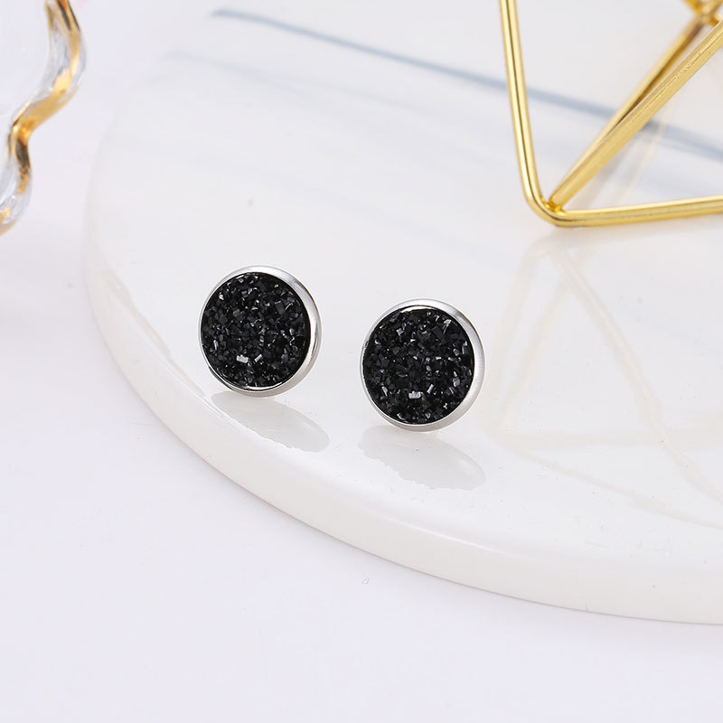 Geometric round frosted dream starry sky time gems starry stainless steel earrings  NHDP253134