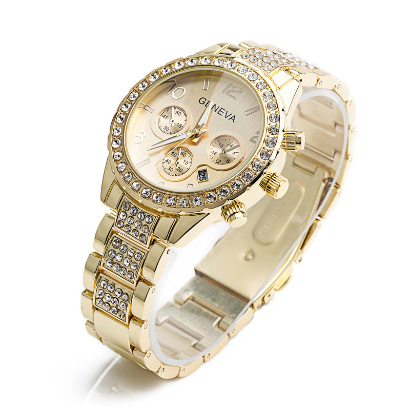 Watches Women Men Faux Chronograph Quartz Plated Classic Round Crystals Watch relogio masculino gold one size 10