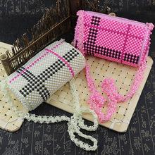 井字串珠包桂林珍珠手工包旅游景点特卖粉色串珠精品时尚包批发