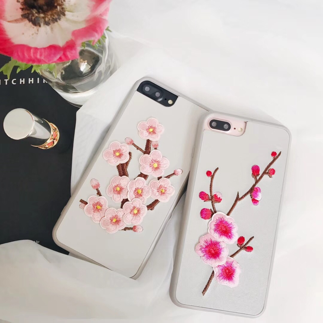Tide brand embroidery plum iPhoneX mobile phone shell embroidery three-dimensional acrylic apple 8 protection mobile phone sets