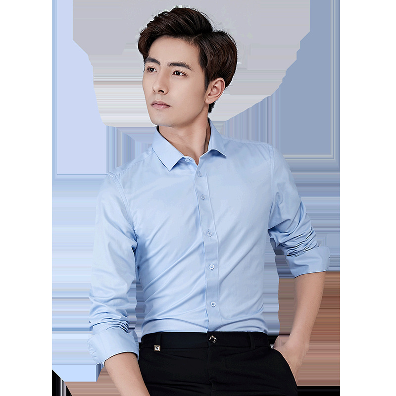 2020 Spring Men's Solid Color Long Sleeve Shirt Youth Slim No-iron Formal Shirt Business Anti-fouling Shirt