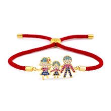 韩版时尚新款女锆石手链 本命年红绳一家人手串时?#20449;?#39280;批发brb06
