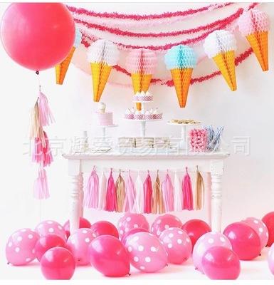 亚玛逊 速卖通 冰激凌蜂窝花球 纸花球 节日生日布置装扮装饰用品