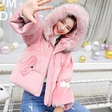 2018冬季新款外套韓版麗絲絨加厚連帽棉服女短款時尚修身保暖棉服