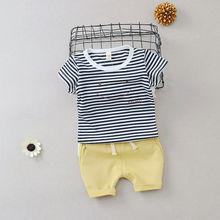 兒童套裝 夏季新品批發 男童短袖套裝 韓版條紋笑臉T恤純棉中褲款