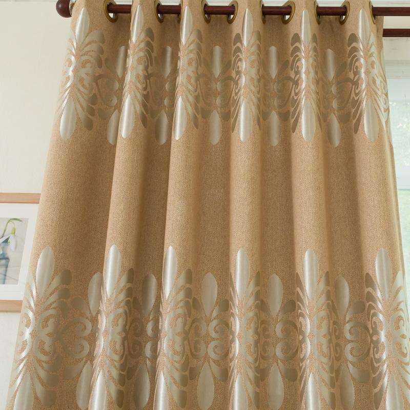 厂家直销现货米粒麻提花窗帘布高档欧式遮光麻料窗帘面料批发工程