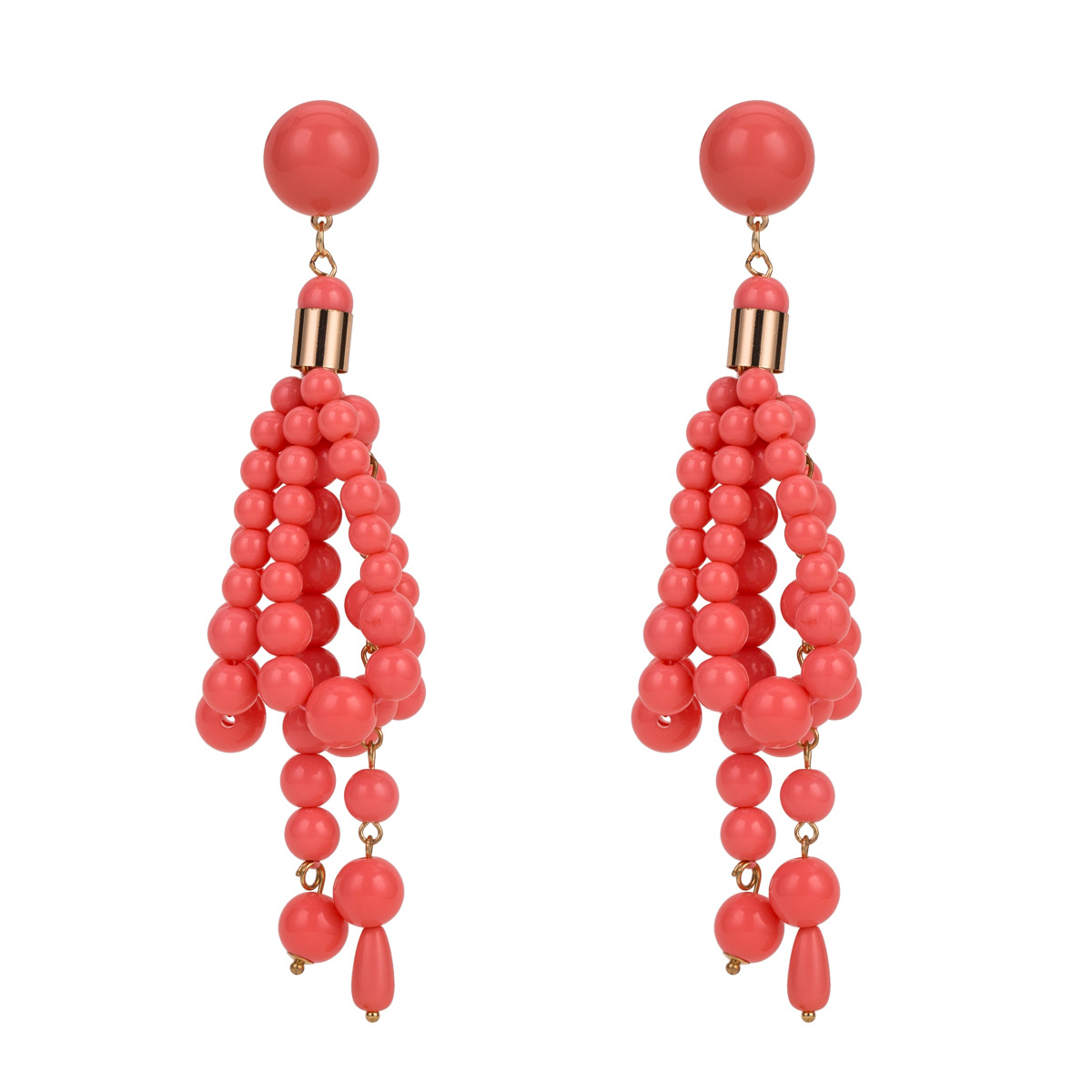Alloy Fashion Geometric earring(Red yellow) NHJE1633-Red-yellow
