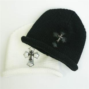 黑色针织卷边十字架复古秋冬保暖毛线帽子潮人新款手工复古