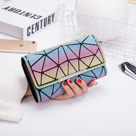Geometric Nightlight Wallet Japanese equivalent rhombohedral long female hand bag frosted discoloration wallet