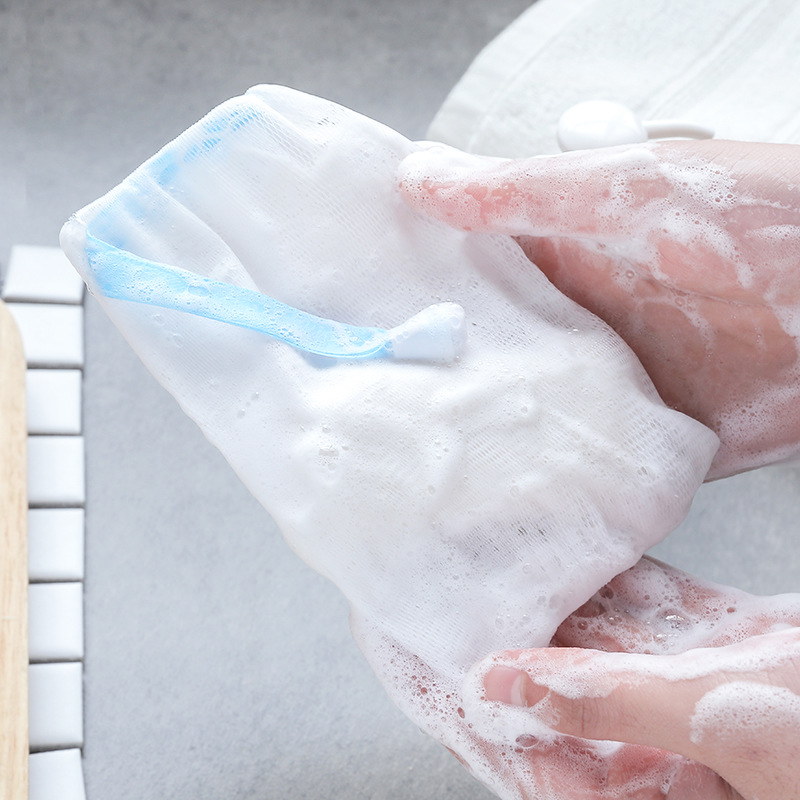 1636洁面洗脸手工皂起泡网 洗面奶打泡网 可挂香皂彩色丝带起泡袋
