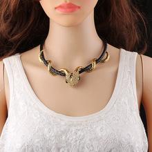 欧美朋克风金属镶钻蛇形项链 短款皮绳锁骨链外贸项饰厂家直销