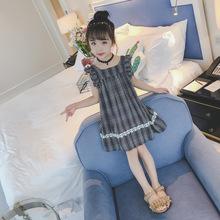 童装女童夏装2018新款连衣裙韩版格子?#34892;?#31461;长款背心洋气A字裙子