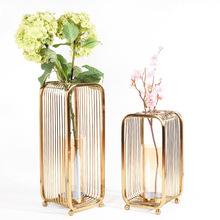 歐式現代美式金屬落地花瓶擺件創意樣板間客廳不銹鋼鏤空插花花器
