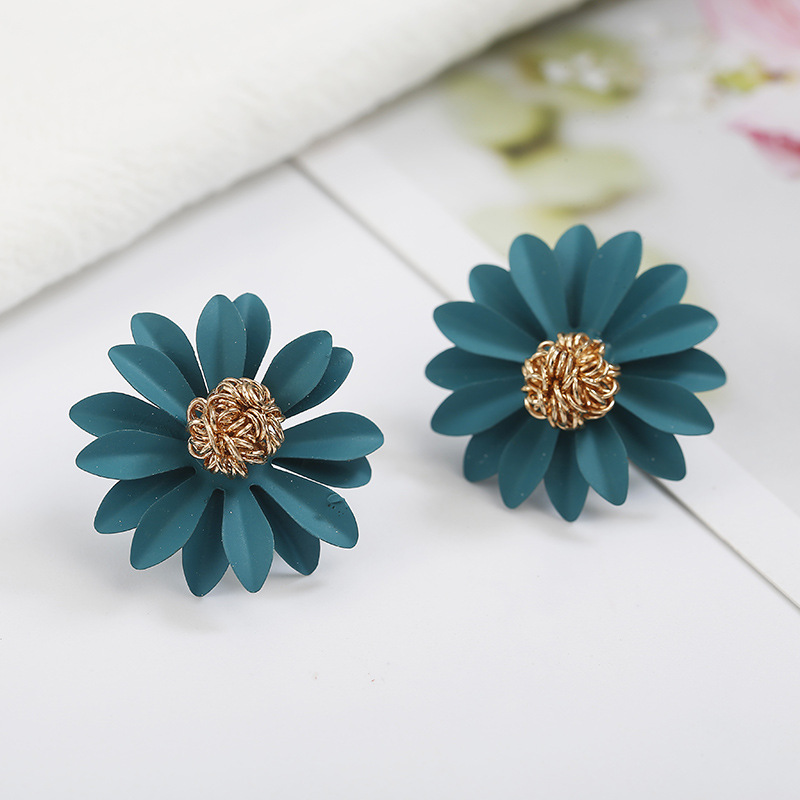 Colored chrysanthemum flower earrings yellow green pink NHPF141083