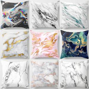 18'' Cushion Cover Pillow Case Marble texture North European peach skin pile pillow cover customized modern car cushion