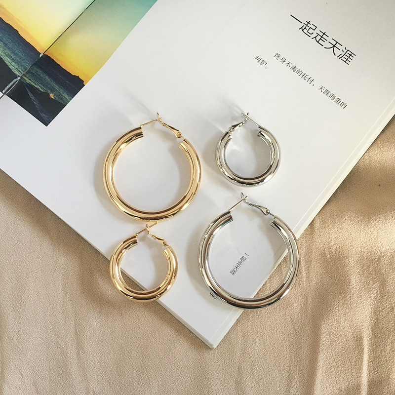 Fashion exaggerated new simple circle earrings metal sequin jewelry earrings for women NHAI241825