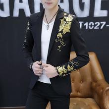 新款夜店西服青年修身时?#34892;?#37070;礼服男士西装韩版个性发型师小西服