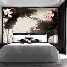 大型定制壁畫新中式手繪古典水墨荷花電視背景墻壁紙臥室客廳墻布