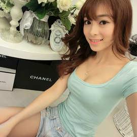 2020夏季新款女装韩版性感短袖低胸性感修身V领打底衫上衣U领棉